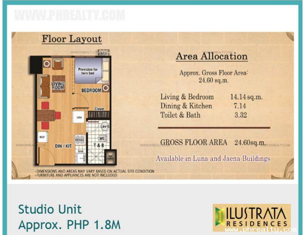 ₱ 1,868,895 - Studio Units at Ilustrata Residences, Condo